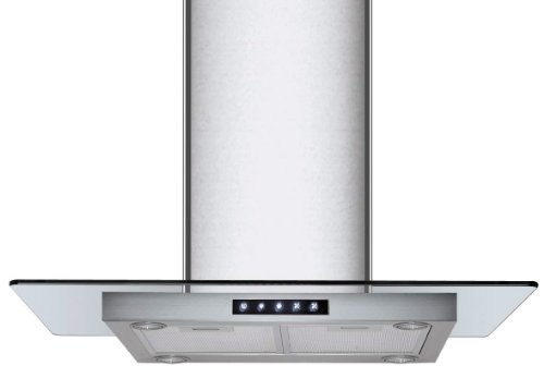 Kitchen Bath Collection 36-Inch Island-Mounted Stainless Steel Range Hood With Flat Tempered Glass, Seamless Chimney & Touch Screen Control Panel