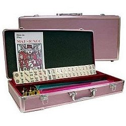 American Mahjong set with Burg tile Pink case and Pushers (Oversized)