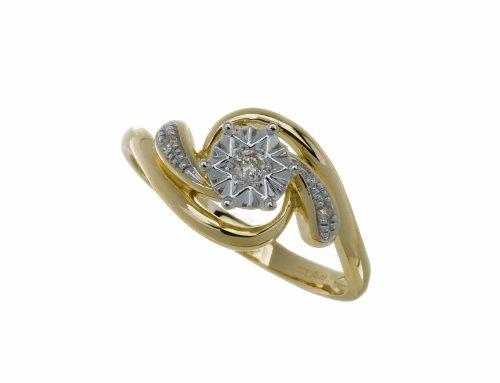 Ladies' 9ct Yellow Gold Fancy Illusion set Diamond Ring