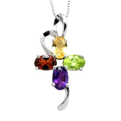 100% Genuine Amethyst Peridot Garnet Citrine 925 Silver White Gold Plating Necklace Gem Jewellery