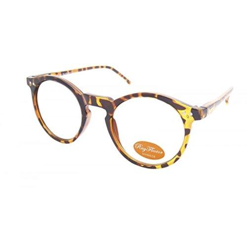 Round Stile Retrò Occhiali Horn occhiali in vetro trasparente ray1505, (Vetro Occhiali)