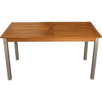 Jardín/Patio al aire libre aluminio y teca mesa (Tratamiento)–140x 80cm–elegante y duradero muebles para su jardín