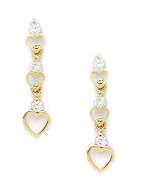 14ct Yellow Gold CZ 3 Heart Drop Screwback Earrings - Measures 20x5mm