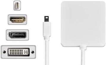 Donzo mini DisplayPort 19-polig auf HDMI Buchse + DVI + DisplayPort für Apple MacBook/MacBook Air/MacBook Pro/iMac/Mac mini/Mac Pro weiß