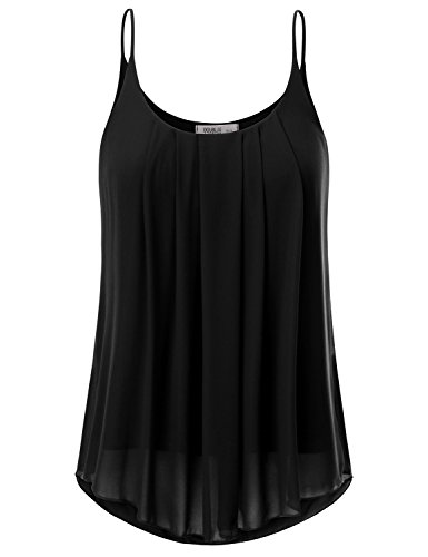 JJ Perfection Women's Pleated Chiffon Layered Cami Tank Top BLACK XL (Spaghetti Strap Blouse compare prices)
