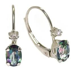 10K White Gold Mystic Topaz and Diamond Leverback Earrings