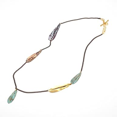 Mixed Metal Feather Drop Necklace by Sibilia