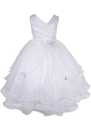 1854a82d2b2 AMJ Dresses Inc Girls White Flower Girl Communion Dress Sizes 2 to 16