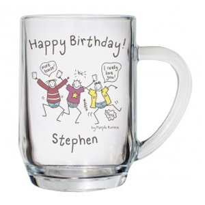 Personalised Purple Ronnie Birthday Glass Tankard