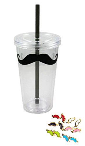 Best Stocking Stuffer Christmas Gift Ideas Trendy Mustache Acrylic Tumbler With Straw And Lid 16 Oz Double Walled Insulated Tumbler And Mustache Earring Sets (Style 3) Trendy Gift Ideas For Teens Girls & Women. Guaranteed To Please. front-97136