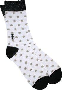 Girl Double Dots White / Black / Grey Socks