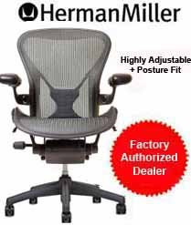 Aeron Chair by Herman Miller - Home Office Desk Task Chair Fully Loaded Highly Adjustable Medium Size (B) - PostureFit Lumbar Back Support Cushion Graphite Frame Classic Pyrite Pellicle
