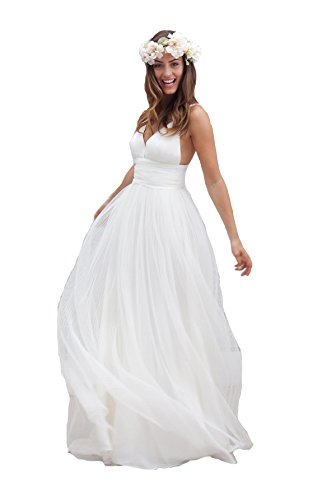 Irenwedding Women's Spaghetti Ruched Empire Waist Open Back Beach Wedding Dress White US16