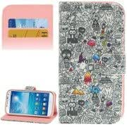 Graffiti Pattern Leather Case with Credit Card Slots Holder for Samsung Galaxy S IV mini / i9190