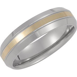 6mm Titanium Satin Domed Band 14kt Yellow Inlay Size 6.5