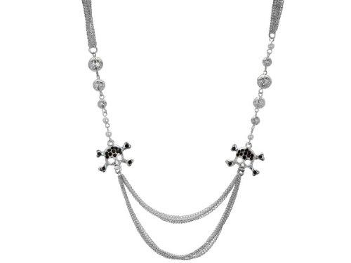 Wholesale Set Of 8, Black Crystal Skull And Crossbones Multi Strand Necklace (Jewelry, Necklaces), $9.74/Set Delivered