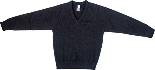 School Uniform bambini/adulti Formal Wear Scollo a V a maniche lunghe caldo maglione Black L