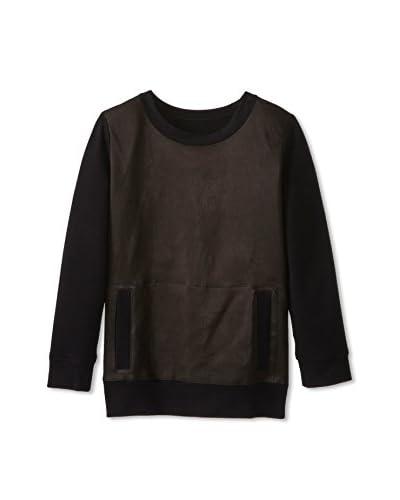 Norma Kamali Sweats Women's Leather Crewneck Sweatshirt