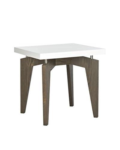 Safavieh Josef End Table, White/Dark Brown