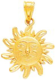 14K Gold Diamond Cut Small Sun Charm