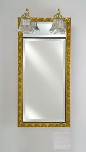 Afina Corporation SD-LT2434RSOHST 24 in.x 34 in.Recessed Single Door Cabinet with Traditional Lights - Soho - Stainless