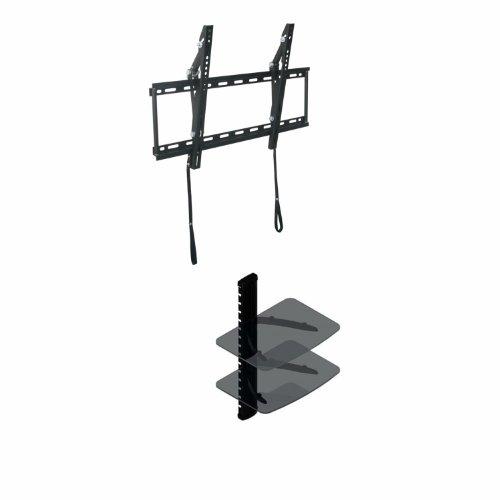"Tilt Wall Mount For Insignia 39"" - 50"" Led Tv + 2 Shelf Wall Mount For Audio / Video Equipment (Dvr Or Dvd Player Or Digital Box, Dsl Modem)"