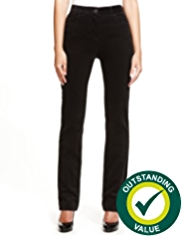 M&S Collection Cotton Rich Flat Front Straight Leg Corduroy Trousers