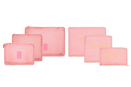 6pcs/set impermeabile vestiti Storage Bags imballaggio Cube valigia da viaggio borsa Organizer rosa Pink point