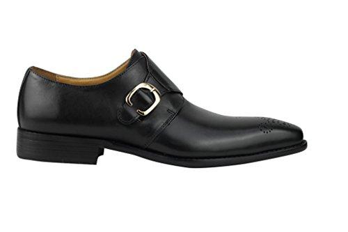 Da uomo marrone nero bicolore brunito in vera pelle cinturino con fibbia Monaco Mocassini 6,5789101111,5, Nero