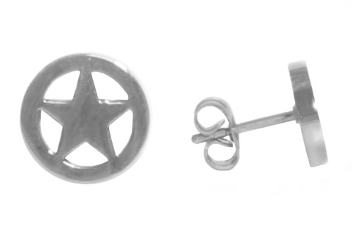 Stainless Steel Rhodium Plated Star Earrings