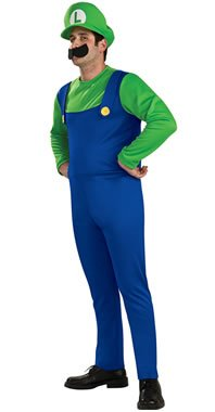 Super Mario Brothers Luigi Costume Medium, Blue/Green