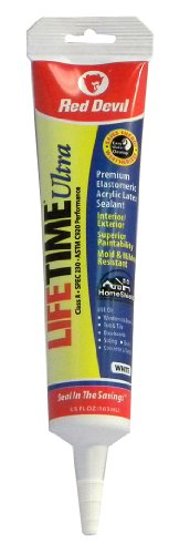 Red Devil 0775 Lifetime Ultra Premium Elastomeric Acrylic Latex Sealant Squeeze Tube, White, 5.5-Ounce