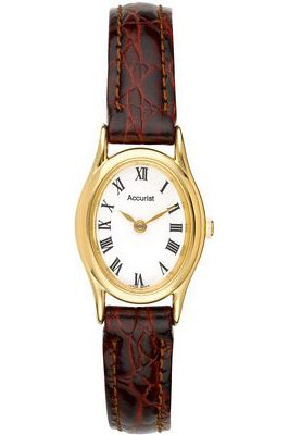 Accurist Analogue Brown Leather Strap Ladies Watch - LS592