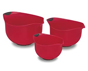 Cuisinart CTG-00-3MBR Set of 3 BPA-free Mixing Bowls, Red by Cuisinart