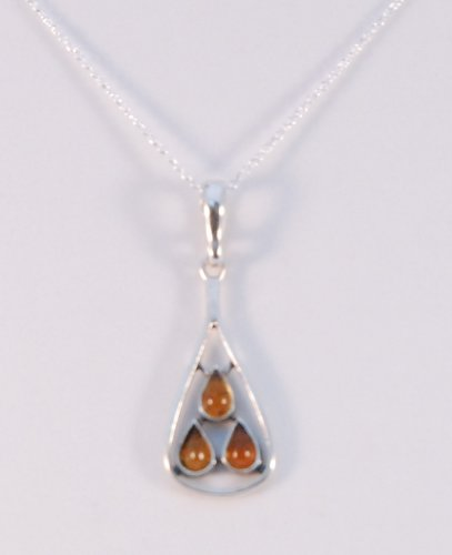 Amber Pendant Set into Sterling Silver on an 18