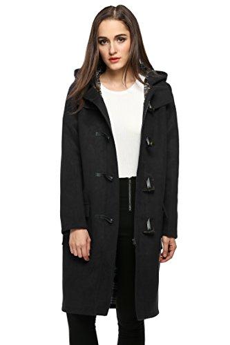 Finejo Women's Hoodie Fleece Jacket Duffle Style Toggle Wool Coat Pea Coat Black X-Large, Black, X-Large