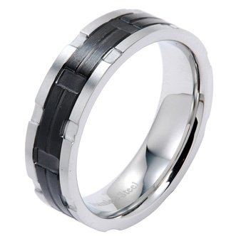 Polished Stainless Steel Wedding Band Ring With Black Plated Center