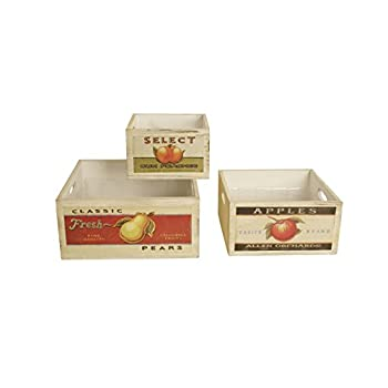 Wald Imports Square Vintage Fruit Wood Crates (Set of 3), Natural, 10.25""