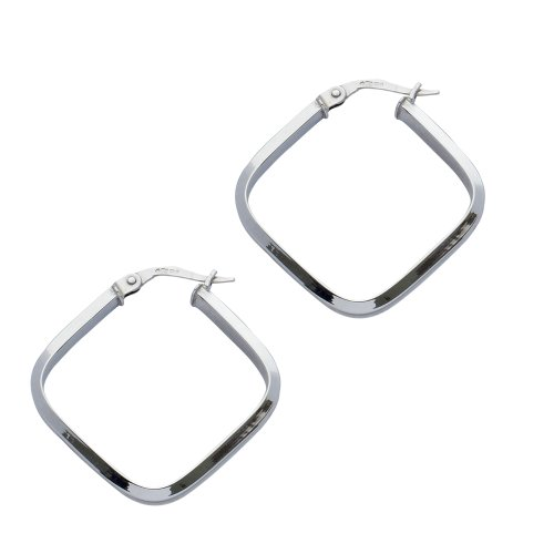 9ct White Gold Square Med Concaved Creole Earrings