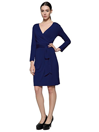 Maggie Tang V Neck Soft long Sleeve Stretch Casual Party Full Wrap Dress NB M