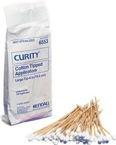 Alimed Curity Cotton-tipped Applicators Large Tip Wood Stick 6 (Case of 100 Pack)