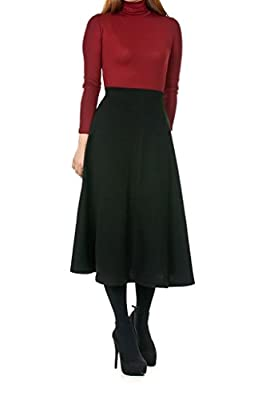 Dani's Choice Elastic Waist A-line Flared Long Skirt