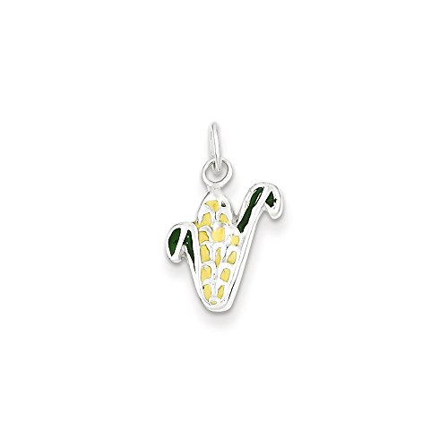 925 Sterling Silver Enameled Corn-Cob Charm (18mm x 10mm) (Corn Brothers Collection compare prices)