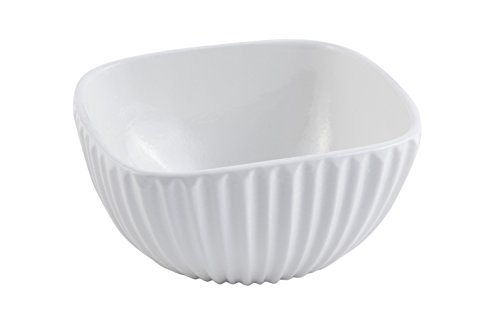 """Bon Chef  9911PWHT-CS6  Square Ribbed Bowl, Aluminum Sandstone 6"""" Length x 6"""" Width x 3"""" Height, Asian/Fusion White (Pack of 6)"""