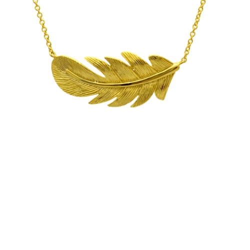 apop nyc 18k Yellow Gold Vermeil Leaf Feather Pendant Necklace 16-17 inch
