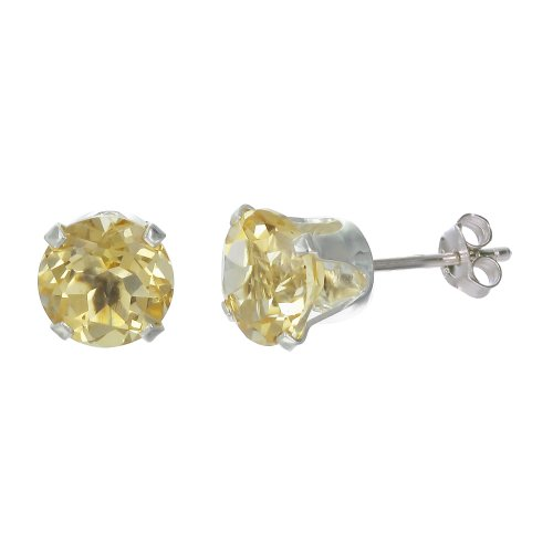 Sterling Silver 6mm Round Citrine Earrings