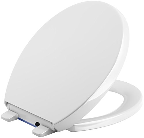 KOHLER 75793-0 Reveal Nightlight Quiet-Close with Grip-Tight Round-Front Toilet Seat, White