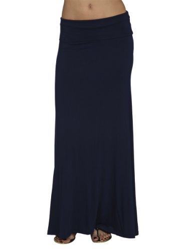 Arden B. Women's Knit Foldover Maxi Skirt S Navy