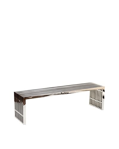 Modway Large Gridiron Stainless Steel Bench, Silver