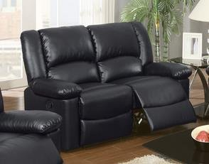 Bobkona Black Bonded Leather Motion Recliner